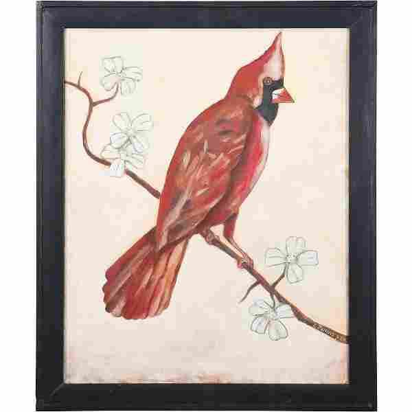 "Steven Jennis, American, ""Red Cardinal Bird"" Painting"