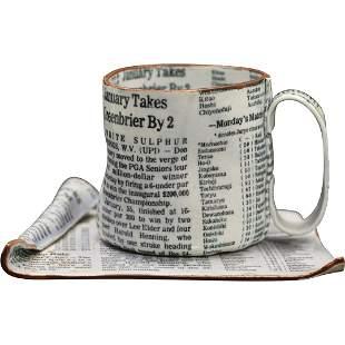 Shoko, Japanese Artist,  Ceramic Newspaper Cup & Saucer