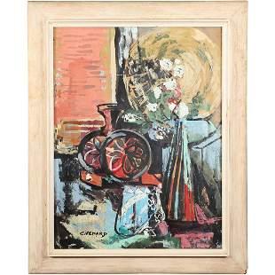 Claude Venard, Oil/b Painting Abstract Still Life