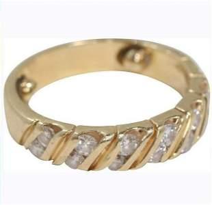 14K Yellow Gold Diamonds Band Ring Size 5