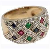 14K Yellow Gold Ring Ruby Emerald Diamonds Sapphire