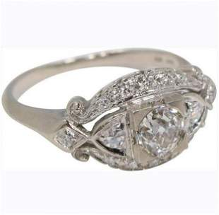 14K White Gold Diamonds Engagement Ring Size 6.75