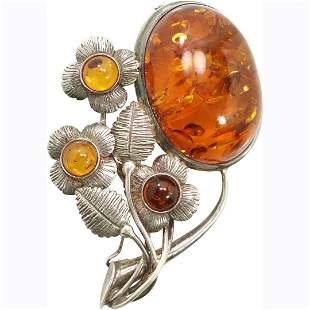 Large Amber and Sterling Silver Floral Brooch