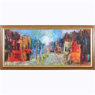 Maurille Prevost, Mid-Century Oil/c Parisian Street
