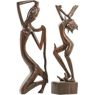 [2] Carved Rosewood Asian Dancer Figure Sculptures