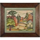Ann Walker, Watercolor Painting Rural Village Landscape