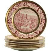 6 Currier & Ives Porcelain Plates Western Farmer's Home