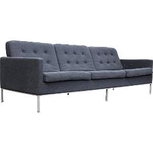 Organic Modernism Black 3-Seat Upholstered Sofa