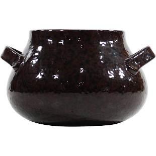 Dark Brown Glazed Redware Pottery Handled Pot