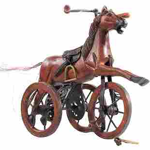 20th C. Whimsical Carved Wood Horse Tricycle Toy