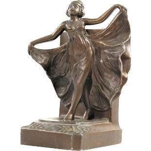 Art Deco Woman Dancer with Drape Single Bookend