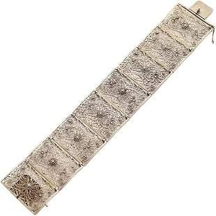 .925 Sterling Silver Filigree Fancy Wide Bracelet