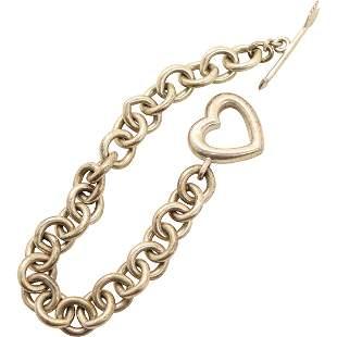 TIFFANY & CO .925 Sterling Silver Heart Link Bracelet