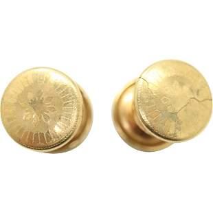 14K Yellow Gold Cuff Links Buttons, Weight 4.8 dwt
