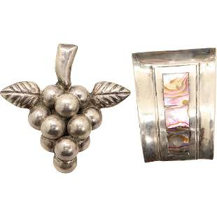 [2] .925 Mexico Sterling Brooches: Grapes, Abalone
