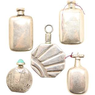 [5] Five Assorted Sterling Silver Snuff Bottles