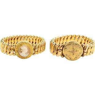 [2] Gold Tone Stretch Bracelets Phoenix Speidel, Cameo