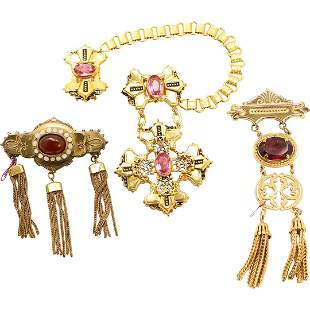 [3] Assorted Gold Tone Badge Brooches with Stones