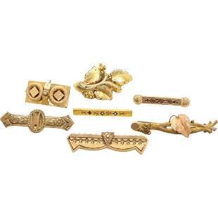 5 Victorian Gold Tone Bar Pins & 2 Victorian Brooches