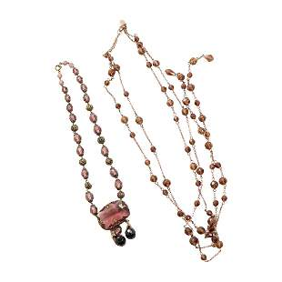 Victorian Purple Amethyst Necklace & 2-Strand Beads