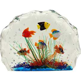 Murano Art Glass Aquarium Sculpture with Shoal of Fish