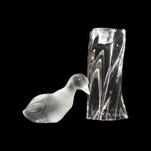 Signed Baccarat Duck Figure & Baccarat Candle Holder