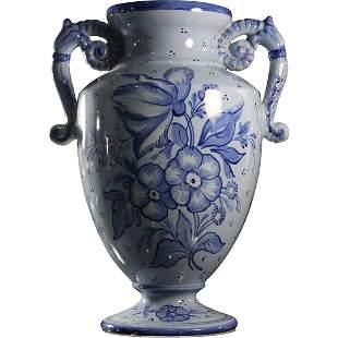 Italian Blue Floral Decorated Ceramic Urn Handled Vase