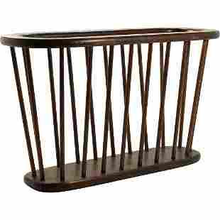Arthur Umanoff Magazine Rack. Modernist Elliptical Wood