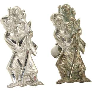 Sterling Silver Unique Pair Religious Figure Cuff Links