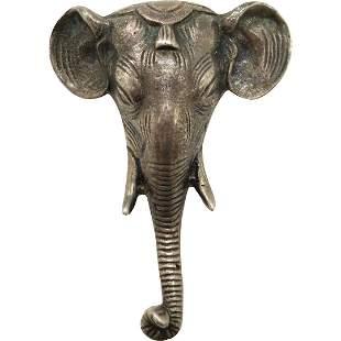 Sterling Silver Elephant Head Brooch