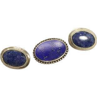 .925 Sterling Lapis Brooch & .925 Mexico Lapis Earrings
