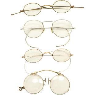 [4] Four Assorted Antique Eyeglasses - 1 marked 12K GF