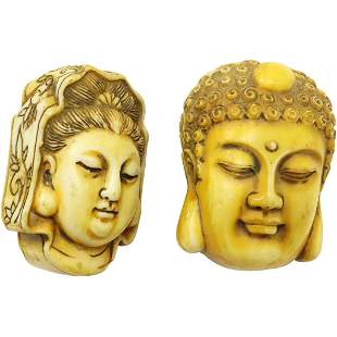 [2] Two Large Asian Buddha Head Beads, Hard Composition