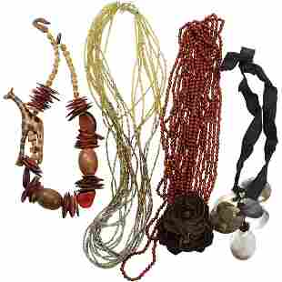 [4] Four Assorted Beads Necklaces: Amber Abalone Wood B