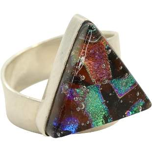 .925 Sterling Silver Triangular Foil Ring Size 7