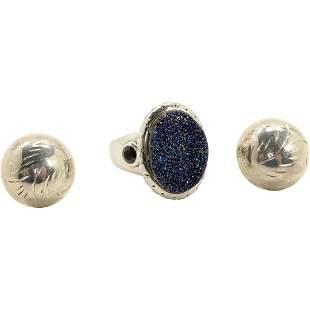 .925 Sterling Raw Crystal Stone Ring & .925 Earrings