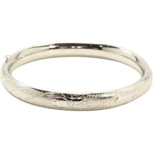 Sterling Silver Bangle with Incised Decoration