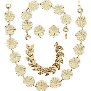 Marino Enamel Necklace Bracelet Earrings Set & Bracelet
