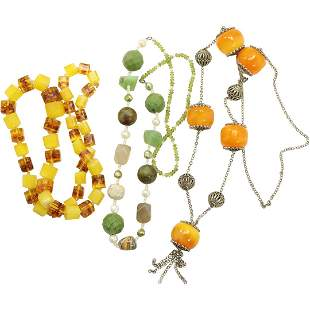 [3] Bead Necklaces: Butterscotch; Square Beads; Green