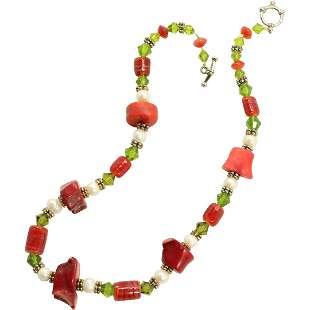 Dyed Coral Necklace 18 in. length