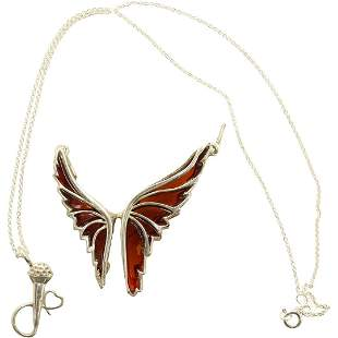 Sterling Stain Glass Butterfly Pendant & .925 Necklace