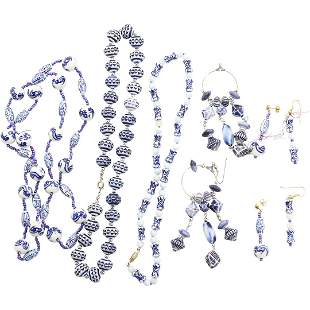3 Chinese Blue Porcelain Bead Necklaces 3 Pair Earrings