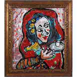 R Monti, Mid-Century Modern Abstract O/b Portrait Woman