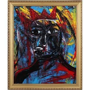 Pulgini, Mid-Century Modern Oil/b Abstract Blue Man