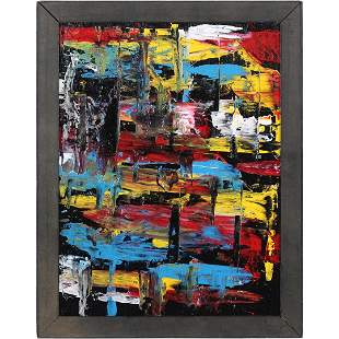 Pulgini, Mid-Century Modern Oil/b Abstract Squares