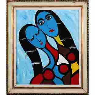 Pulgini, Mid-Century Modern Oil/c Abstract 2 Blue Woman