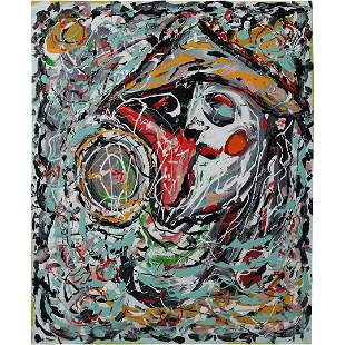 R Monti, Mid-Century Modern Portrait in Abstract O/c