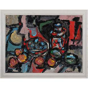 R Monti, Mid-Century Modern Abstract Still Life O/c