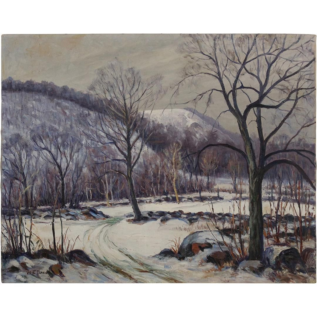 Walter Emerson Baum Oil/c Winter Landscape Bucks County