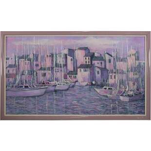 George Shelly, Oil/c Boats in a Coastal Village Harbor